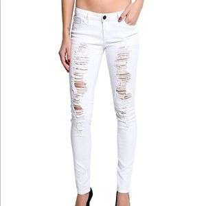 J&C/Pasion Jean White Ripped Stretch Skinny Jeans